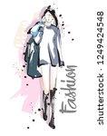 fashion girl sketch. fashion...   Shutterstock .eps vector #1249424548