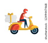 courier with pizza boxes on... | Shutterstock . vector #1249447468