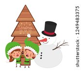 couple of elves with snowman... | Shutterstock .eps vector #1249483375
