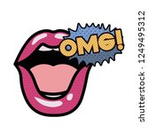 lips saying omg avatar character   Shutterstock .eps vector #1249495312