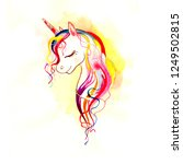 beautiful head of a unicorn....   Shutterstock . vector #1249502815