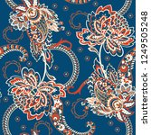 paisley seamless floral pattern.... | Shutterstock .eps vector #1249505248