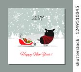 christmas card  santa pig in... | Shutterstock .eps vector #1249510345