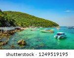 tropical idyllic ocean and boat ... | Shutterstock . vector #1249519195