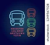 bus icon set neon light glowing ...