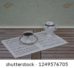 english teacup with saucer and... | Shutterstock . vector #1249576705