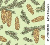 seamless pattern with spruce ... | Shutterstock .eps vector #1249586398