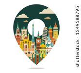 europe famous landmarks. travel ... | Shutterstock .eps vector #1249588795