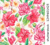 vector vintage bright tropical... | Shutterstock .eps vector #1249601425