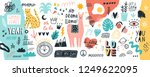 Stock vector collection of handwritten slogans or phrases and decorative design elements hand drawn in trendy 1249622095