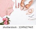 stylish pale pink feminine... | Shutterstock . vector #1249627465
