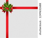 xmas red ribbon bow transparent ... | Shutterstock .eps vector #1249632688