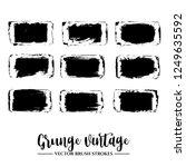 set of black brush stroke and... | Shutterstock .eps vector #1249635592