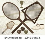Old Tennis Elements - Vector eps8. - stock vector
