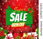 christmas sale banner with... | Shutterstock . vector #1249672252