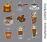 illustration of coffee drinks... | Shutterstock .eps vector #1249678312