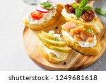 italian antipasti snacks set... | Shutterstock . vector #1249681618