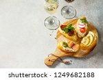 italian antipasti snacks set... | Shutterstock . vector #1249682188