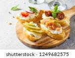 italian antipasti snacks set... | Shutterstock . vector #1249682575