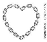 heart shaped silver chain frame.... | Shutterstock .eps vector #1249714672