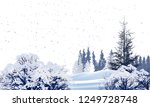 illustration with winter trees... | Shutterstock .eps vector #1249728748