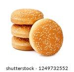 four hamburger buns with sesame ... | Shutterstock . vector #1249732552