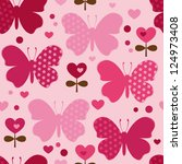 seamless pattern with butterfly ... | Shutterstock .eps vector #124973408