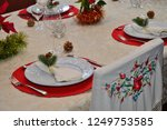 christmas food and ornaments | Shutterstock . vector #1249753585