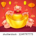 five little pigs with chinese... | Shutterstock .eps vector #1249797775