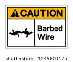 caution barbed wire symbol sign ... | Shutterstock .eps vector #1249800175