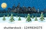 christmas winter cityscape ... | Shutterstock .eps vector #1249834375