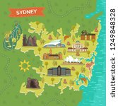 sydney map with australian... | Shutterstock .eps vector #1249848328