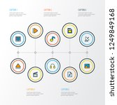 multimedia icons colored line... | Shutterstock .eps vector #1249849168