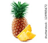 Pineapple With Slices Isolated...