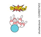 bowling strike icon. realistic... | Shutterstock .eps vector #1249857652
