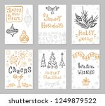 set of christmas greeting cards ... | Shutterstock .eps vector #1249879522