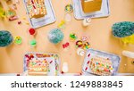 flat lay. kids decorating small ... | Shutterstock . vector #1249883845