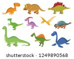 set of 10 cute dinosaurs in... | Shutterstock .eps vector #1249890568