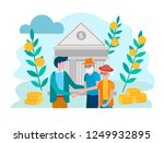 bank employee and a couple of...   Shutterstock .eps vector #1249932895