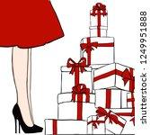 vector women in red dress. girl ... | Shutterstock .eps vector #1249951888