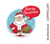 merry christmas flat icon with... | Shutterstock .eps vector #1249961245