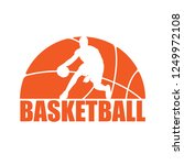 orange basketball symbol with... | Shutterstock .eps vector #1249972108