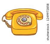 vector cartoon yellow retro... | Shutterstock .eps vector #1249972858