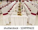 a restaurant banquet room... | Shutterstock . vector #124999622