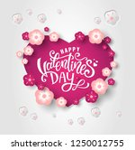 happy valentines day hand drawn ... | Shutterstock .eps vector #1250012755