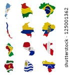 South America Countries Flag Maps - Fine Art prints