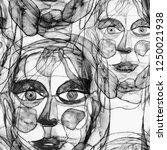 texture with women portraits in ... | Shutterstock . vector #1250021938