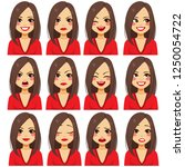 young beautiful brunette woman... | Shutterstock .eps vector #1250054722