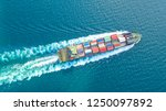container ship in export and... | Shutterstock . vector #1250097892