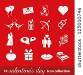 16 valentine icons collection | Shutterstock .eps vector #125010746